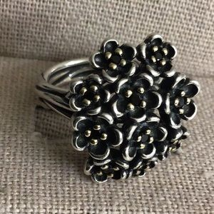 Retired Pandora 2-tone floral bouquet Ring
